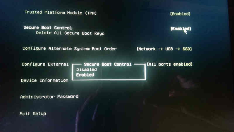 Secured Boot settings